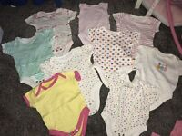 Lot of baby clothes new born n 0-3 months girl vest baby grow tops bottoms