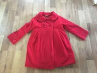 Girls red Next coat age 3/4