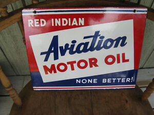Authentic Red Indian Aviation Porcelain Sign 1930's