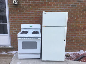 USED FRIDGE & GAS STOVE WITH HOOD FAN