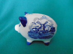 cochon tirelire en porcelaine  Delft blue Michelotti Hollande