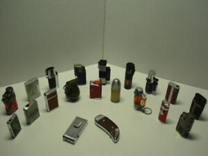 Collection 20 briquets ( lighters ) assortis ( 1-2-3-4 flammes )