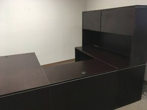 Large Dark Wood Desk with Hutch