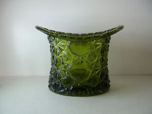 Pressed Glass Candy Dish Hat in Forest Green