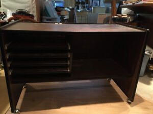 Rolling Desk with Shelves with 4 Slide Out Shelves