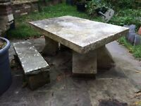 Stone table and bench architectural garden feature