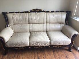 Italian leather x1 3 seat sofa, & x2 single sofas
