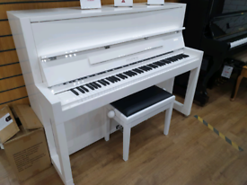 Feurich 115 white upright piano for sale