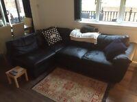Leather corner sofa/sofa bed
