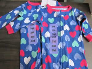 Sleepers, Carter's, Girls size 3 Month, BNWT - $6.00 ea.