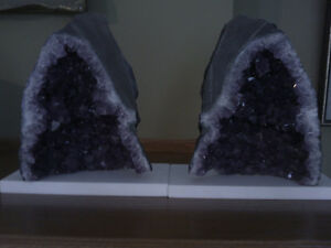 Matching Pair of Amethyst Geode Crystals