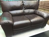 FREE DELIVERY - 2 & 2 REIDS BROWN LUXURY FULL LEATHER SOFAS
