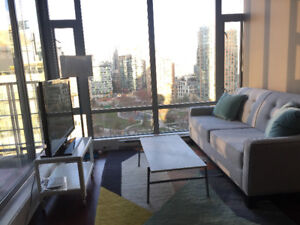 Fully Furnished Hip Yaletown One bedroom with patio and park vie