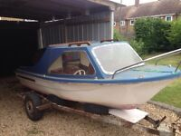 14ft cabin boat and trailer (swap for classic bike)