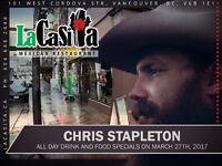 Chris Stapleton Pre-Drinks & Meal and Post-Drinks & Late Dinner