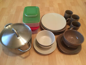 Plates, bowls and pot for sale