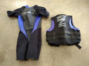 Ladies HO Waterski Wetsuit and Life Jacket