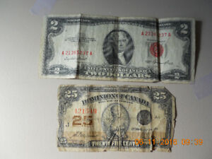 1923 25 cent Canadian paper bill,plus a 2 dollar U.S. paper bill