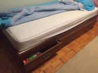 Twin mattress with bed frame and storage