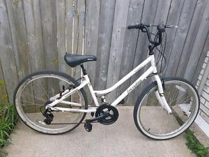 White 18 Speed Cruiser Bike with helmet Lock and gloves