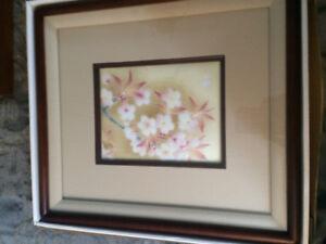 Hirabayashi Shippo Yaki Cloisonne Cherry Blossoms Framed