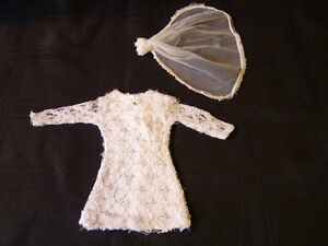 Vintage Barbie White Short Wedding Dress with Bridal Viel.