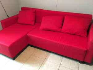 Red IKEA Lugnvik couch