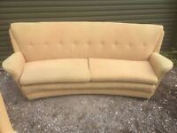 Retro 1970s Sofa And 2 Armchairs Horse Hair ? Part Filled Cinema Style Can deliver