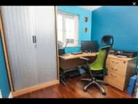 Office furniture setup: drawers, ergonomic desk, cupboard & quality chair