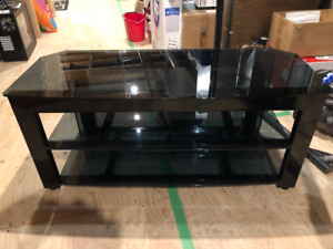 Metal and smoked glass TV stereo media audio stand