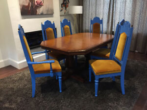 Chic Custom Painted VINTAGE Oak Dining Room Set