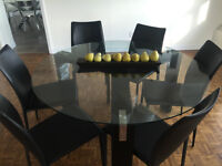 """55"""" Glass Dining Room Table & 6 Cahirs"""