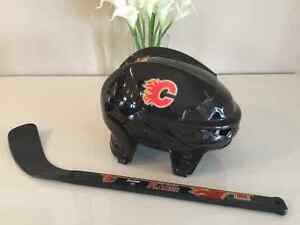 Calgary flames helmet and stick for toddler