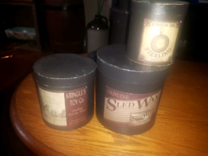 Set of 5 cardboard decor canisters