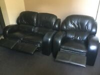 Black 2 seater and armchair recliner sofa