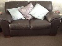Brown leather sofas x 2 £100 ono