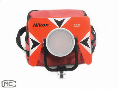 Red Metal Single Prism With Soft Bag For Nikon Total Station Surveying -300mm