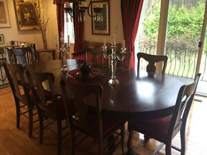 Dining Table with Sideboard and 10 Chairs