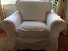 White IKEA Ektorp single sofa