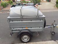 Brenderup 1150s trailer c/w side extensions, ABS lid, load bars, Thule bike rack and jockey wheel