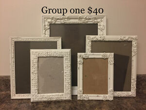 Gallery wall picture frames shabby chic finish