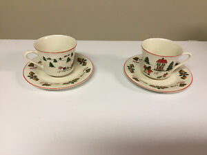 SET OF 2 CHRISTMAS CUPS & SAUCERS