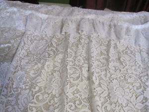 white lace shower curtain with attached valance -STRATHROY