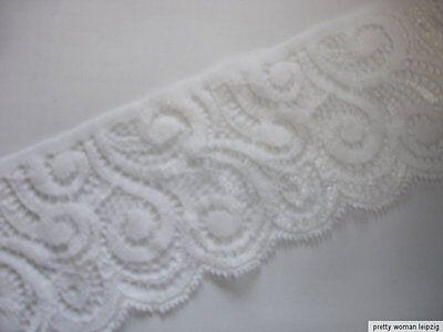 3 Lfm breite elastische Spitze 1,59€/m weiß 7cm breit TA61