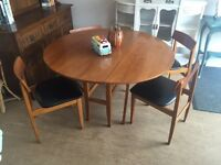 Solid teak retro G plan Danish era drop leaf table & 4 cushioned chairs - CAN DELIVER