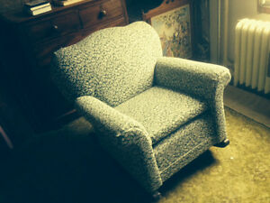 Antique unusual overstuffed rocking chair