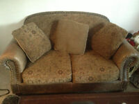 MUST SELL-TEXT OFFER-2 PCS SUEDE WITH LEATHER ACCENTS COUCHES