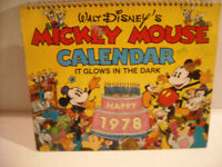 Mickey Mouse Glow-In-The-Dark Calendar 1978