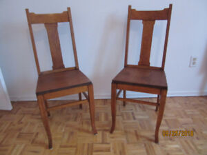 Dining Chairs (two) Quarter Sawn Oak