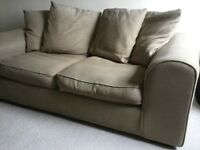 Brown 2-seater sofa